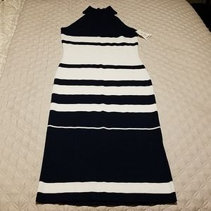 Navy Blue Striped Body Con Dress